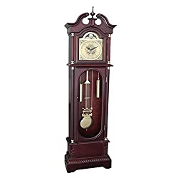 Perfect Home Grandfather Clock Traditional Floor Standing Westminister Chimes Large Pendulum Oval Glass Door