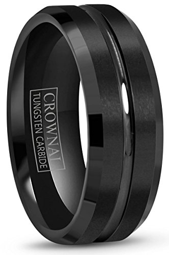 Crownal 4mm 6mm 8mm 10mm Black Tungsten Wedding Band Ring Men Women Beveled edges Polished Grooved Center Comfort Fit Size 4 To 17 (Tungsten Carbide Beveled)