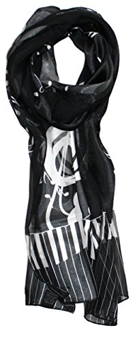 Womens Fashion Silk Big (Ted and Jack - Music Lovers Silk Feel Print Scarf (Black Big Treble Clef))
