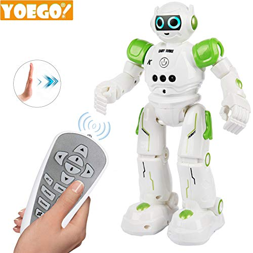 Yoego Remote Control Robot, Gesture Control Robot Toy for Kids, Smart Robot with Learning Music Programmable Walking Dancing Singing, Rechargeable Gesture Sensing Rc Robot Kit (Green)