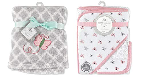Baby Girls Embroidered Blanket and Hooded Towel Washcloth Gift Set Butterfly Pink Grey White Baby Shower Gift