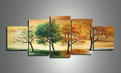 Painting Rooms Ideas (Ode-Rin Art - 100% Hand Painted Four Seasons Trees 5 Pieces Framed Painting on Canvas Wall Art for Living Room Home Decor, Ready to Hang - (12