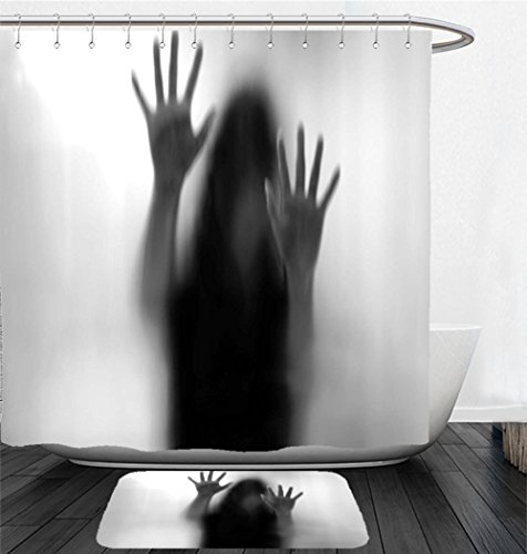 Nalahome Bath Suit: Showercurtain Bathrug Bathtowel Handtowel Horror House Decor Silhouette of Woman behind the Veil Scared to Death Obscured Paranormal Photo Gray by Nalahome