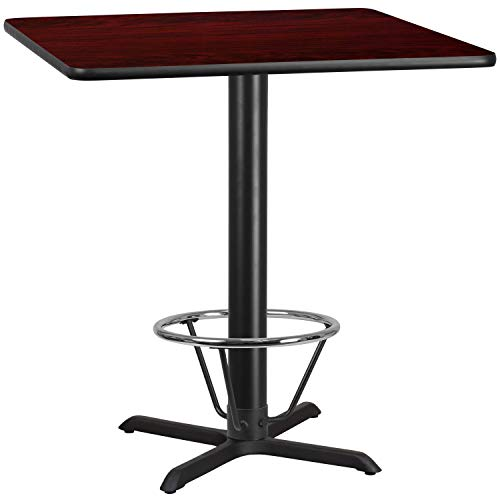 MFO 42'' Square Mahogany Laminate Table Top with 33'' x 33'' Bar Height Table Base and Foot Ring
