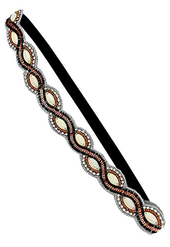 Rosemarie Collections Women's Bead and Sequin Stretch Headband