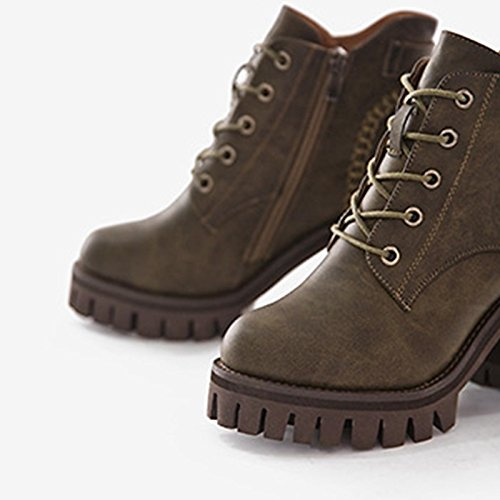 Black PU Khaki Casual Round Winter Women's Comfort Army Boots Toe Black Boots HSXZ Shoes Combat for Green ZHZNVX 17RFHOR
