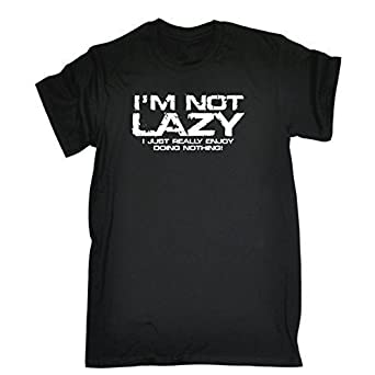 08a1c2422 123t Mens I'M NOT LAZY - I JUST ENJOY DOING NOTHING ! - Loose Fit T-shirt  (Distressed Style Print): Amazon.co.uk: Clothing