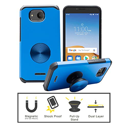 JJMOON Compatible for Alcatel Tetra (5041C), Hard Double Layer Shockproof Cover Case + Pull-up Stand (Blue)