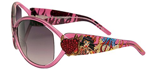 Ed Hardy Pinup Devil Sunglasses Pink Sapphire Grey Gradient