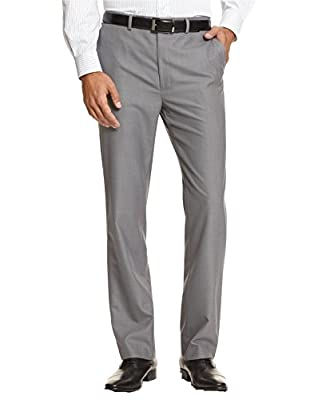 Calvin Klein Slim Men's Slim Fit Grey Textured Flat Front Dress Pants (32W x 32L)