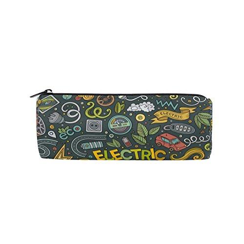 ALAZA Colorful Electric Car Doodle Canvas Pencil Case Large