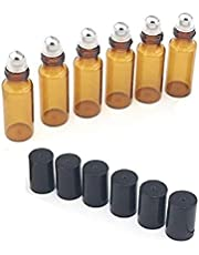 5ml Amber Glass Roller Bottles-Set of 15 With Metal Ball for Essential Oil,Aromatherapy,Perfumes and Lip Balms
