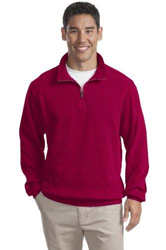 Port Authority Flatback Rib 1 4 Zip Pullover  M  True Red