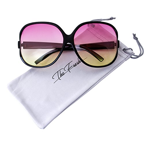 The Fresh New Women's Vintage Style XL Oversized Jackie O Frame Ocean Colored Lens Sunglasses with Gift Box (5-Black, Purple-Yellow)]()