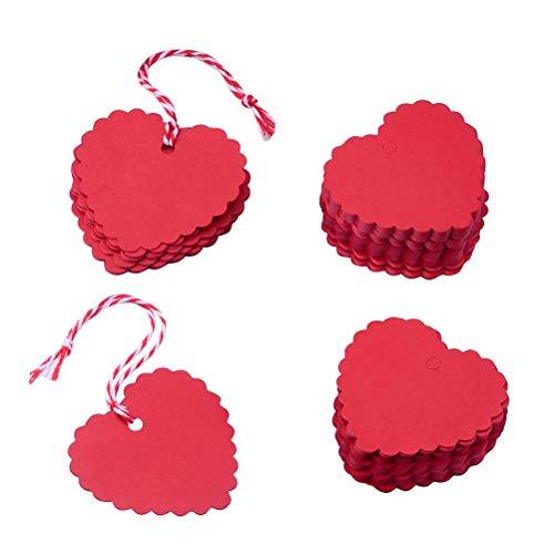 YeahiBaby Etiquetas Colgantes en Forma de corazón - Etiquetas Decorativas de Papel Kraft Rojo con una Cadena de 20 m para la...