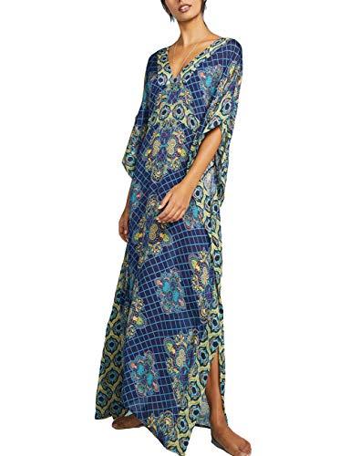 Women Plus Size V Neck Bathing Suit Swimsuit Cover Ups Kaftan Beach Maxi Dress Dark Blue
