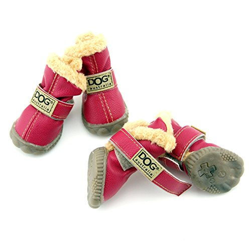 Zerotone Cute Warm PU Fur Shoes Boots with Rubber Sole Anti-slip for Small Pet Dog Cat Red #4