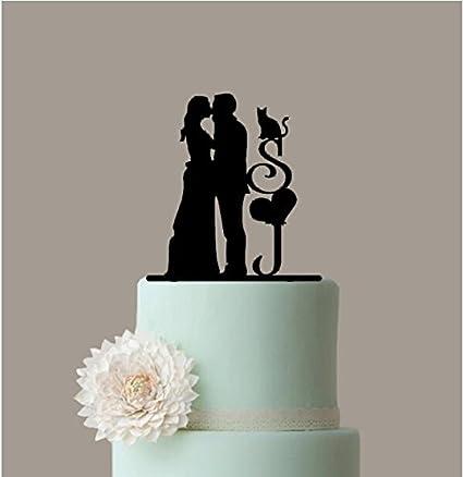 Amazon.com: Silhouette Wedding Cake Topper, Personalized Couple Name ...