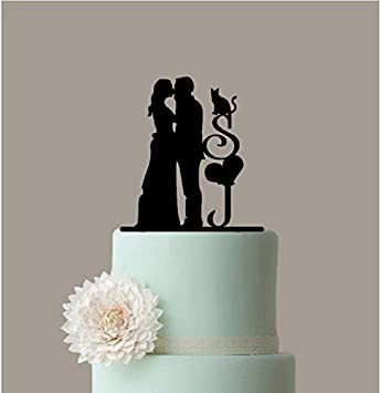 Silhouette Wedding Cake Topper Personalized Couple Name With Cat