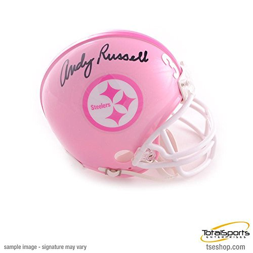 Andy Russell Signed Mini Helmet - Pink - Autographed NFL Mini Helmets Autographed Pink Mini Helmet