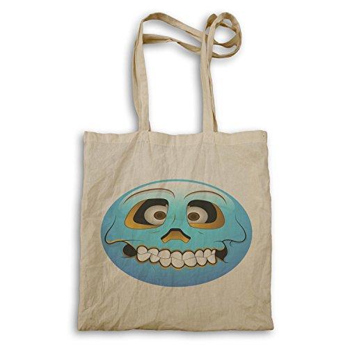 Smiley-Schädel-Blau-Gesichts-Neuheit-lustige Vintage Kunst Tragetasche a250r