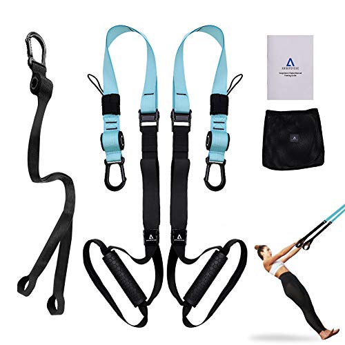 ANOOPSYCHE Bodyweight Fitness Resistance Trainer Kit with Body Workout Guide, Fitness Training Straps for Home or Professional Complete Body Workout (Best Body Workout Schedule)