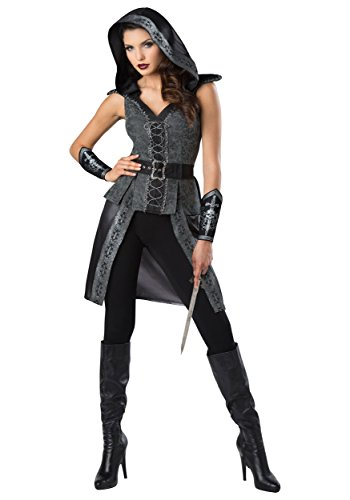 Fun World Women's Dark Woods Huntress, Grey/Black,
