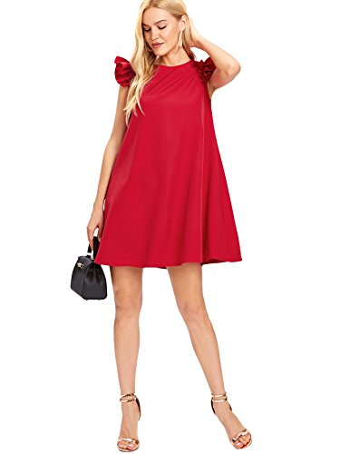 Ruffle Summer Swing Sleeve Beach Dress A Romwe Women's Red Loose Trim Line 1wZqgq5n4x