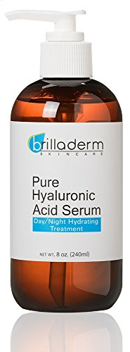 Brilladerm Skincare Pure Hyaluronic Acid Serum Anti Aging and Wrinkle Formula - Plump, Hydrate and Moisturize, 8 oz