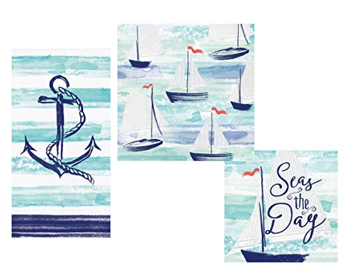 Nautical Theme Napkins Set - Bundle Includes Guest Napkins/Towels, Lunch Napkins, and Beverage Napkins in Smooth Sailing Designs by Elise