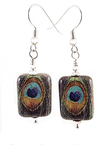 - Peacock Feather Dangle Pierced Earrings Image on Ceramic Bead with Silver Toned Ear Wires