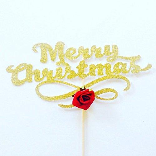 merry christmas red glitter card cake topper cake decorations christmas day decorations christmas - Christmas Cake Decorations Amazon
