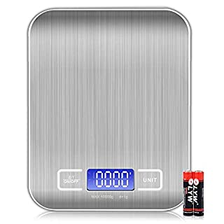 Digital Kitchen Scale, 304 Food Grade Stainless Steel LCD Display Kitchen Food Scale, Food Scales Digital Weight Grams and Oz, Batteries Included