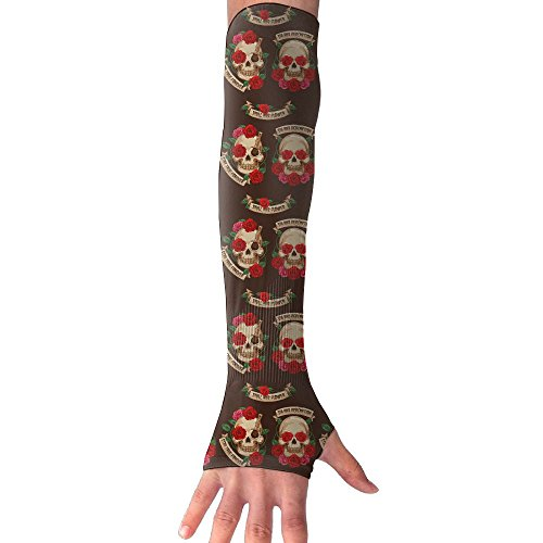 Mexican Skull And Flower Stay True Forever Cooling Arm Sleeves Unisex Sun Block UV Protection International Fashion (Diy Sally Halloween Costume)