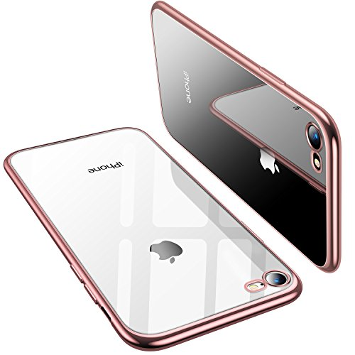 TORRAS Crystal Clear iPhone 8 Case/iPhone 7 Case, Soft Cover Case with Electroplated Frame Ultra Slim TPU Gel Case Compatible with iPhone 7/8 - Rose (Crystal Iphone Covers)