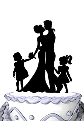 Meijiafei Family Wedding Cake Topper Silhouette Bride and Groom Kiss with Two Girls