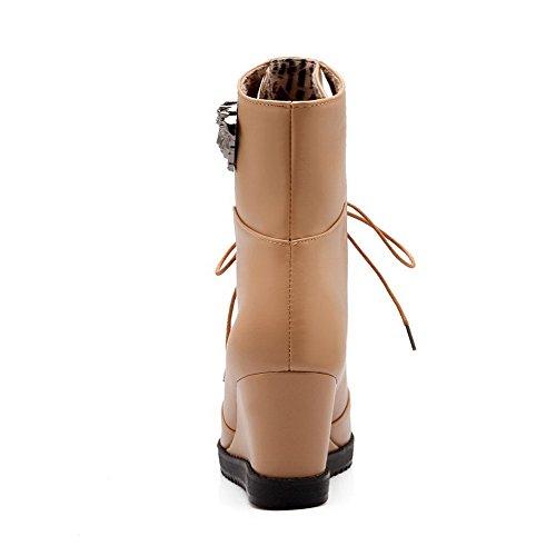 AllhqFashion Mujeres Cordones Plataforma Cuña Sólido Caña Baja Botas con Ornamento Metal Albaricoque