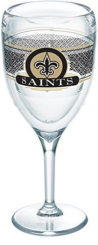 Tervis 1271014 NFL New Orleans Saints Select Tumbler with Wrap 9oz Wine Glass, Clear ()