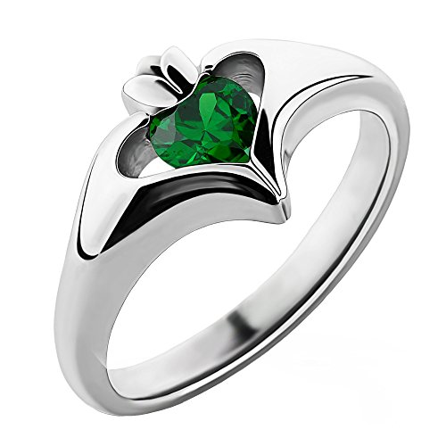 Sterling Silver Green CZ ULS-16434GR Ladies Modern Claddagh Ring (7)