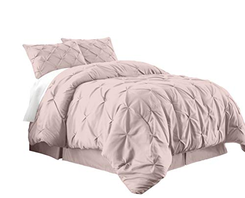 Chezmoi Collection Berlin 2-Piece Pintuck Pinch Pleat Bedding Comforter Set (Twin, Soft Pink) (Pleat Pink Pinch Comforter)