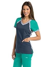 Grey's Anatomy Active 41435 Women's Tri-Color V-Neck Scrub Top