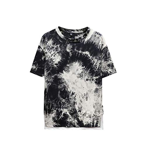 Toimothcn Men's Fashion Printed Tie-Dyed Shirts Summer New Short Sleeve Tee Tops foy Boys(Black1,XXL)