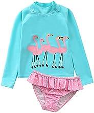 AoMoon Baby Toddler Girls Swimsuit Long Sleeve Rashguard Set Flower Tankini