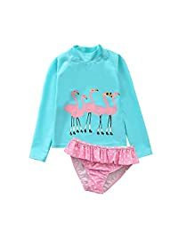 AoMoon Baby Toddler Girls Swimsuit Long Sleeve Rashguard Set Flower Tankini
