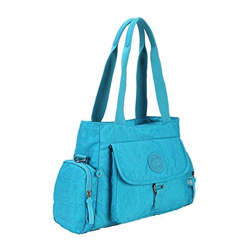 Adanina - Bolso al hombro para mujer Amarillo caqui medium Azul (Lake Blue)