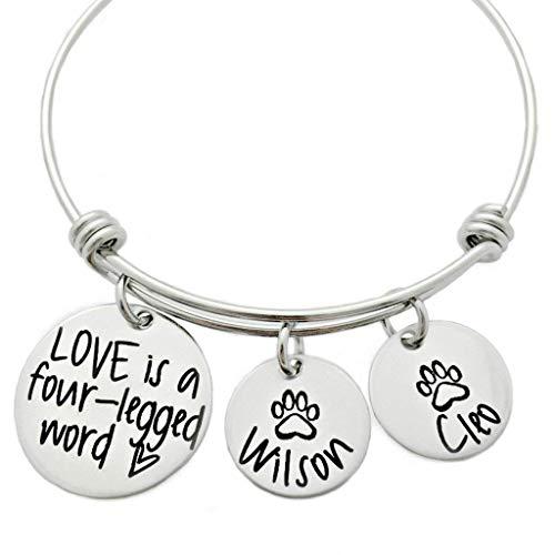 Love is a Four-Legged Word - Pet Bracelet - Personalized Bangle Bracelet - 1023 ()