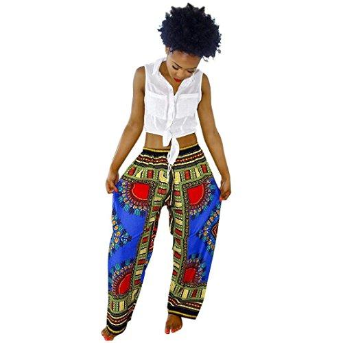 Lisaforu Womens Casual Bohemia African Print Wide Leg Palazzo (Girls Flare Leg Twill Pants)