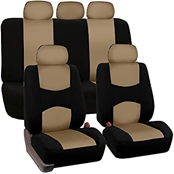 FH GROUP FB050115 Full Set Flat Cloth Car Seat Covers Beige Color Fit
