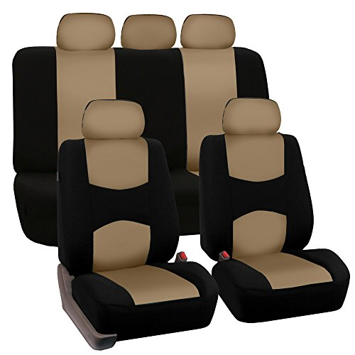 FH GROUP FB050115 Full Set Flat Cloth Car Seat Covers Beige Color Fit Most Truck Suv Or Van