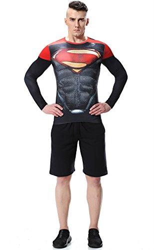 shirt Lundin Blu Fitness T E Sport c Cody Maschile Stile Long All'aperto Rosso Accogliente Supermen Guerriero Stampa Sleeve Zfwpqd1p